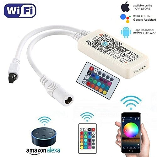 Sumaote WiFi Wireless RGBW(CW+WW) LED Smart Controller Working with Android IOS System Mobile Phone App for 5050 3528 LED Light Strip Comes With a 24 Keys Remote Control, Fits Alexa,Google Home, IFTTT