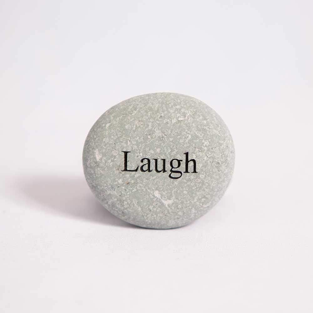 Garden Age Supply Laugh Engraved StoneInspirational Sandblast, Perfect Gorgeous Unique Gift Ideas, Natural Beach Pebble Rock
