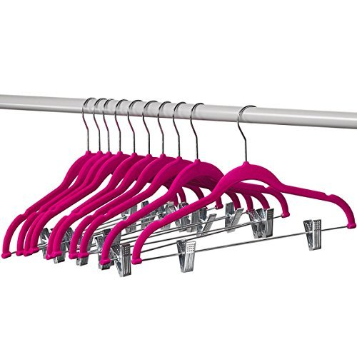 - Home-it 10 Pack Clothes Hangers with clips - PINK Velvet Hangers - made for skirt hangers - Clothes Hanger - pants hangers - Ultra Thin No Slip