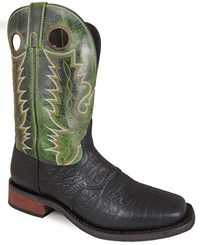 Smoky Mountain Men's Timber Pull On Stitched Design Square Toe Black/Green Crackle Boots 13D