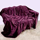Mink Faux Fur Throw Aubergine / Plum / Purple 150x200, Large 2 Seater Sofa / Bed Blanket