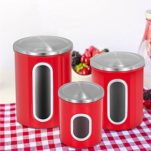 Red Kitchen Canisters Set,Fortune Candy 3 Piece Nested