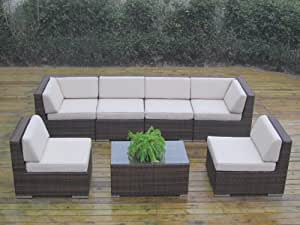 Ohana Collection PN7037NMB Genuine Ohana Outdoor Patio Wicker Furniture 7-Piece Gorgeous Couch Set with Free Patio Cover, Mixed Brown
