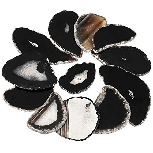 rockcloud 10 Pcs Agate Light Table Slices, Healing Crystals Geode Stones,Irregular Home Decoration Jewelry Making,Black