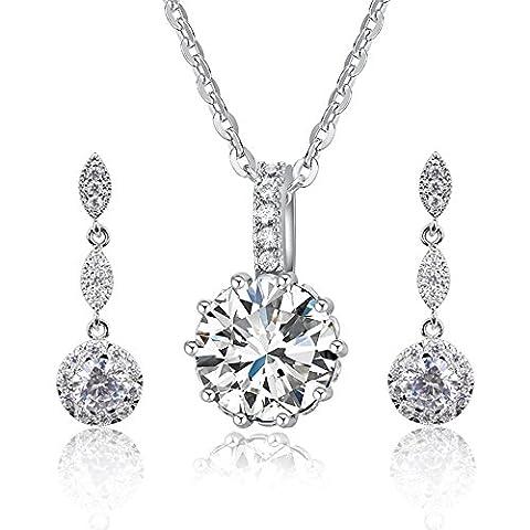 Women Fashion Necklace Earrings Round-Cut Cubic Zirconia Pendant Necklace Dangle Earrings Jewelry - Cubic Zirconia Pendant Jewelry