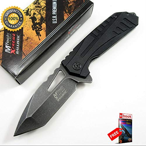 Mtech Tactical SPRING ASSISTED Folding Sharp KNIFE Black Tanto Everyday Carry Combat Tactical Knife + eBOOK by Moon Knives Air Force Lockback Knife
