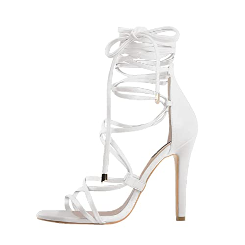 d121eb9d3962 Onlymaker Women s Gladiator Ankle Strap Lace up Open Toe Stiletto Snake  Patterned Harmoni Heeled Strappy Sandals
