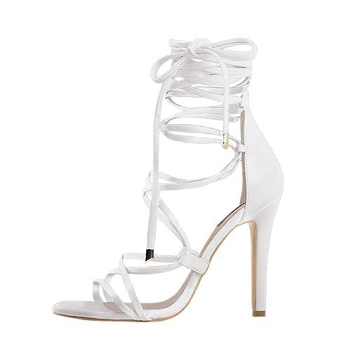2ef05de04758 Onlymaker Women s Gladiator Ankle Strap Lace up Open Toe Stiletto Snake  Patterned Harmoni Heeled Strappy Sandals