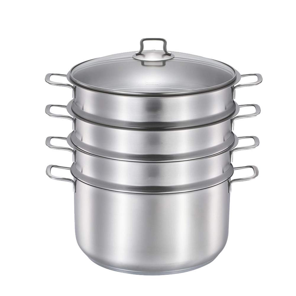 food Steamer,Stainless steel 32CM three-layer large-capacity steamer, suitable for induction cooker and gas stove, all kinds of stoves