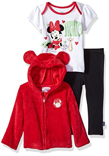 Disney Baby Girls' Minnie Mouse 3 Piece Bodysuit OR T-Shirt, Hoodie, Pant Set, Barberry, 24M