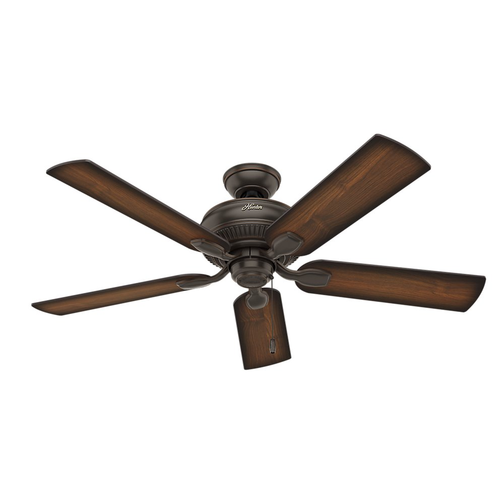 Hunter Indoor Outdoor Ceiling Fan with light and pull chain control – Matheston 52 inch, Onyx Bengal, 54092