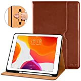 DTTO New iPad 7th Generation Case 10.2 Inch 2019 - Premium Leather Business Folio Stand Cover with Built-in Apple Pencil Holder - Auto Wake Sleep and Multiple Viewing Angles - Brown