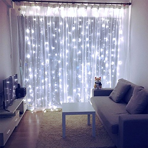 ZSTBT 608LED Linkable Curtain Lights Window Icicle Fairy Lights for Home Garden Wedding Party