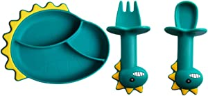 Cabilock 3pcs Dinosaurs Plate with Suction Divided Baby Spoon Fork Set for Toddlers Babies Kids Plates Utensil
