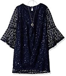 Big Bell Sleeve Sequins Lace A-Line Dress