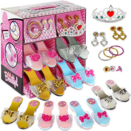 fash n kolor Princess Dress Up and Play Shoe and Jewelry Boutique with Fashion Accessories for Girls Dress Up, Age 3 - 10 yrs Old (Pink)