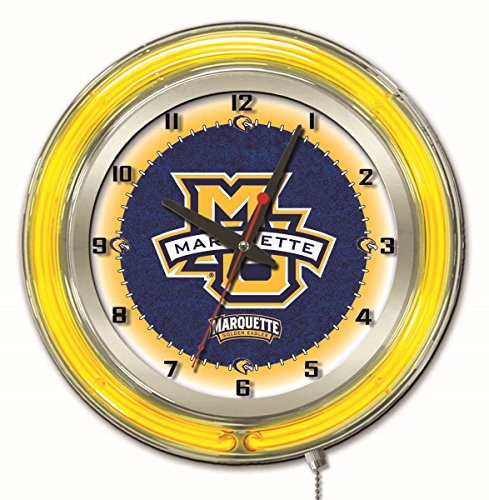 Marquette Golden Eagles HBS Neon Yellow College Battery Powered Wall Clock (Eagle Neon Clock)
