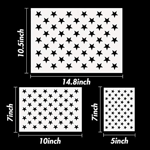 Koogel Plastic Stencil Template,3 Sizes 50 Star Stencil Template for Planner/Notebook/Diary/Scrapbook/Graffiti/Card, DIY Drawing Painting Craft Projects
