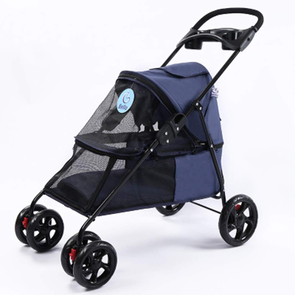 Dark bluee JKL Fourwheeled Pet Stroller,with Storage Bag Breathable Mesh Window And 2 Exits Lightweight Foldable Multifunction Dog Cart Dog Wheelchair (color   BLACK)