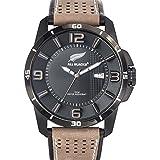 All Blacks - 680299 - Montre Homme - Quartz Analogique - Cadran Noir - Bracelet Cuir Bicolore