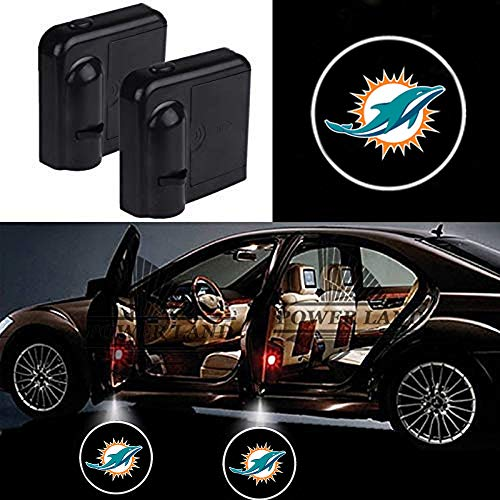 For Miami Dolphins Car Door Led Welcome Laser Projector Car Door Courtesy Light Suitable Fit for all brands of cars(Miami Dolphins)