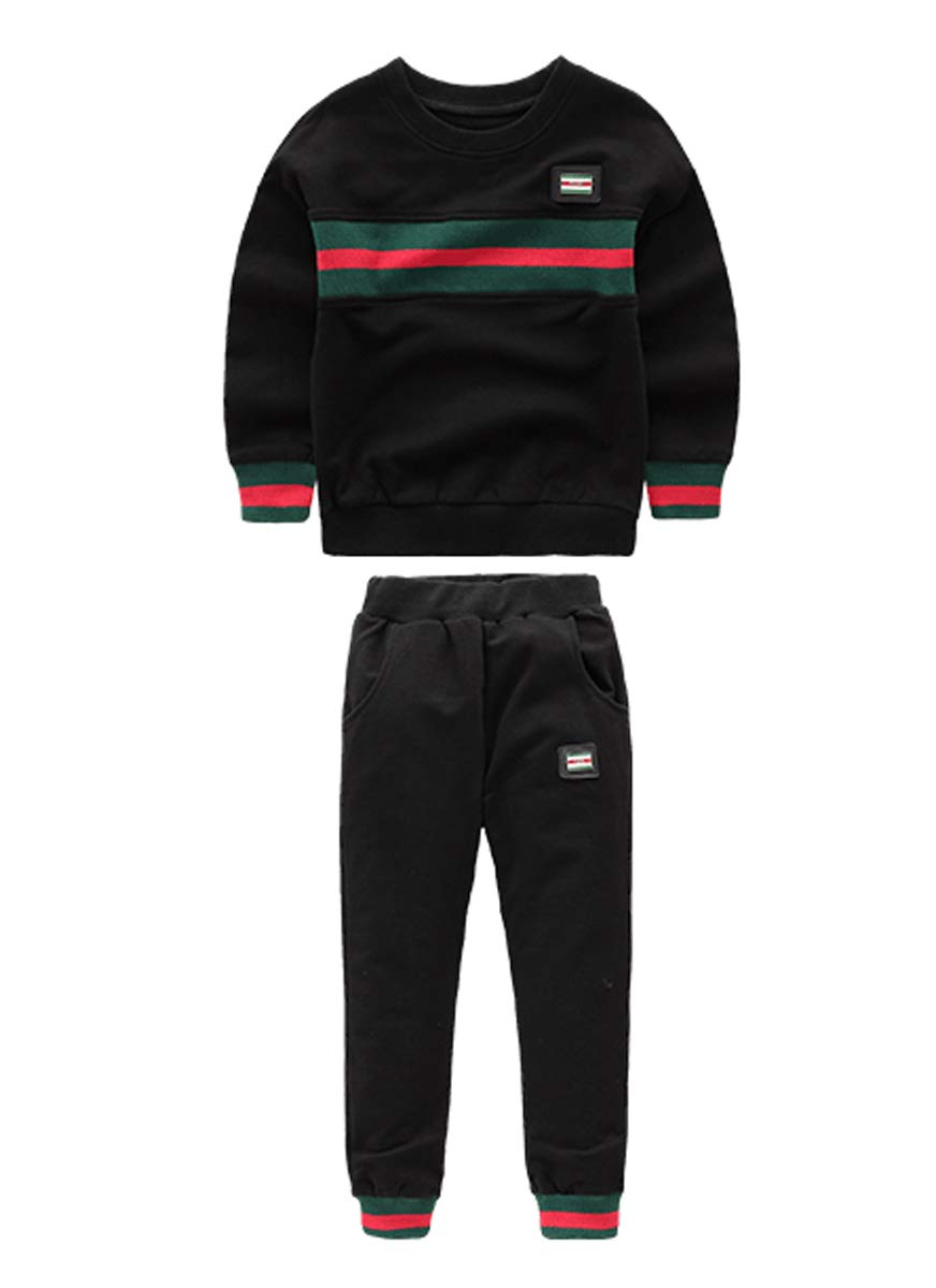 LittleXin Kids Boy's Casual Tracksuits Top & Elastic Waist Pants Sets Age 3-6 (3-4 Years) Black by LittleXin