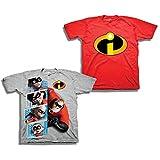 The Incredibles Disney's Pixar Shirt - 2 Pack of Incredibles Tees - Mr Incredible, Jack Jack, and Elastigirl (Grey/Red, 5T)