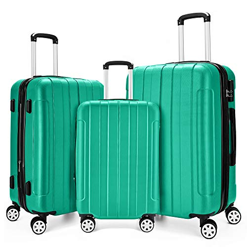 Fochier 3 Piece Expandable Spinner Luggage Set Hard Shell Lightweight Suitcase Green