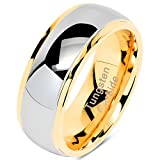 100S JEWELRY Tungsten Rings for Men Women Wedding Band Two Tones Gold Silver Engagement Size 6-16 with Half (11)
