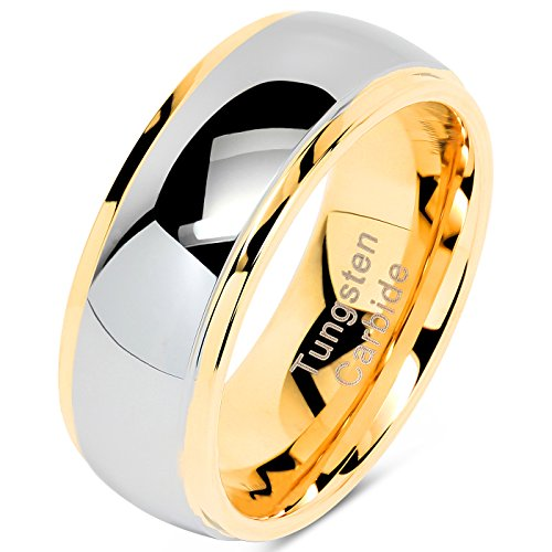 100S JEWELRY Tungsten Rings for Men Women Wedding Band Two Tones Gold Silver Engagement Size 6-16 with Half (7.5)