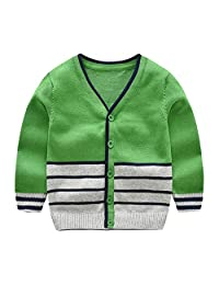 CJ Fashion Boys Cardigan Sweater Stripes Open Front Knitwear for Toddler Boy 2-7 Years Old