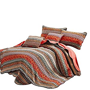Best Striped Classical Cotton 3-Piece Patchwork Bedspread Quilt Sets by Comforbed