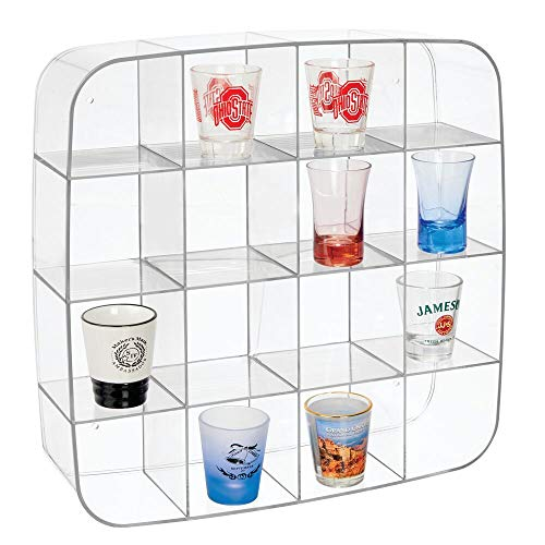 Show Shot Glass - mDesign Plastic Wall Mount Display Organizer Holder - 16 Compartments - Protect, Store and Show Off Small Collectibles, Figurines, Shot Glasses, Nail Polish Colors, Spices - Clear