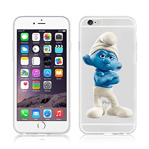 Disney Smurfs Transparent Clear TPU Soft Case For Apple iPhone 7 Plus GROUCHY