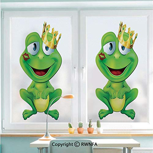 Decorative Window Films Kitchen Glass Sticker Cute Frog Prince Cartoon Character with Gold Crown and Lipstick Mark on His Lips Love Print Waterproof Anti-UV for Home and Office 22.8