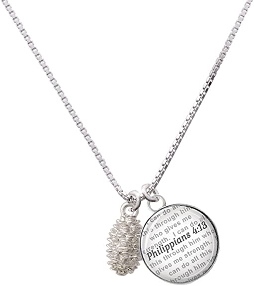18+2 Delight Jewelry 3-D Bear Bible Verse Philippians 4:13 Glass Dome Necklace