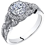 14k White Gold Cubic Zirconia Engagement Ring 1.00 Carat Center Size 8