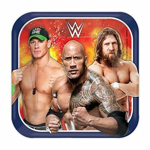 Amscan Grand Slammin' WWE Birthday Party Square Dessert Paper Plates Disposable Tableware (8 Pack), 7'', Multicolor by Amscan