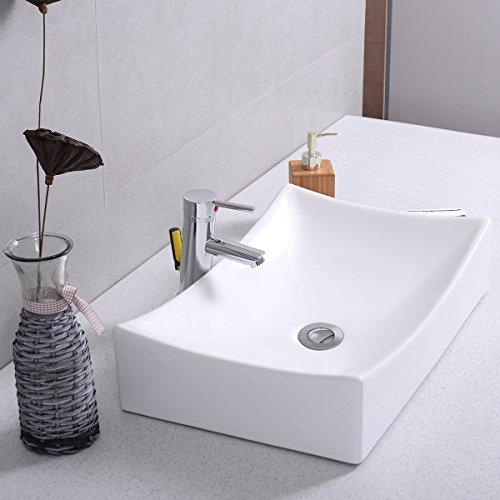 low-cost Giantex Bathroom Rhombus Ceramic Vessel Sink Vanity Pop Up Drain  Modern Art Basin