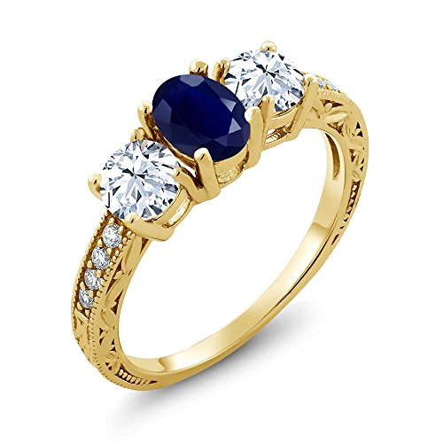 Blue Sapphire Gold 18k Ring - Gem Stone King 2.64 Ct Oval Blue Sapphire 18K Yellow Gold Plated Silver 3-Stone Engagement Ladies Ring (Ring Size 7)