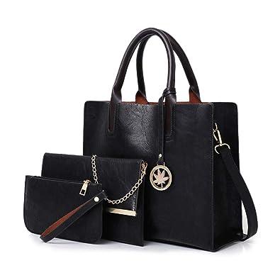 bb126a94c8cd Amazon.com  BAIGIO 3Pcs Ladies Handbags Tote Soft PU Leather Satchel  Vintage Shoulder Metal Chain Bags Coin Purses