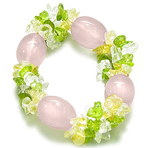 Rose Quartz Tumbled Crystals with Gemstone Chips Good Luck Love Amulet Bracelet
