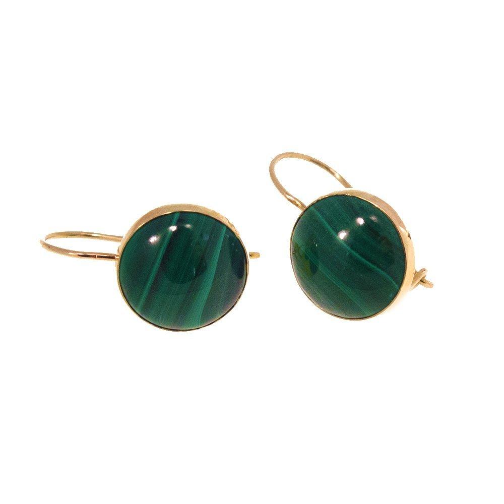 Handmade 14K Solid Gold Malachite Green Stone Earrings