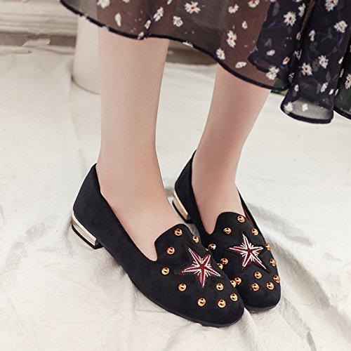 GAOLIM Las Estrellas Solo Zapatos Zapatos De Mujer De Remache De Fondo Plano Con Dos Granos De Soja Zapatos Zapatos Negro
