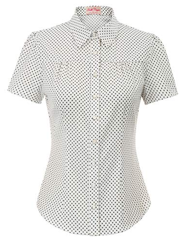 (Women's Vintage Short Sleeve Button Shirts Blouse Stretchy Button Down Blouse, Off-White, Medium )