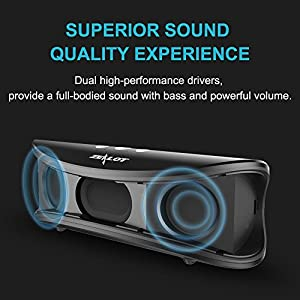 Bluetooth Speakers, ZEALOT S2 Wireless Portable Speaker, Desktop Computer Speaker with Enhanced Bass, Build in Microphone for Hands Free Phone Call, 3.5mm Audio Jack I/0 (Black)