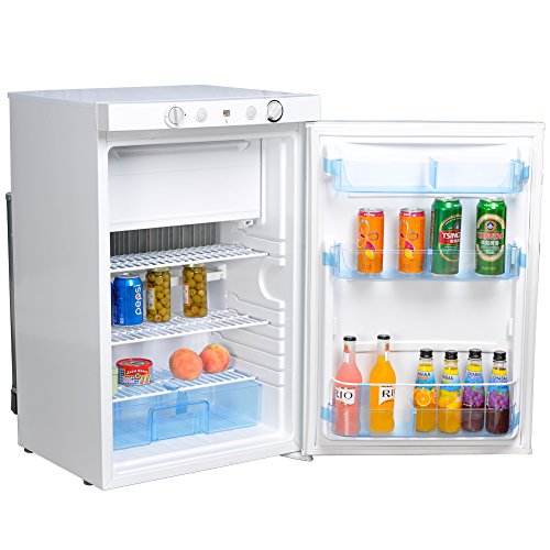 Smad AC/DC/LPG Small Refrigerator with Freezer,3.5 Cu.Ft,White