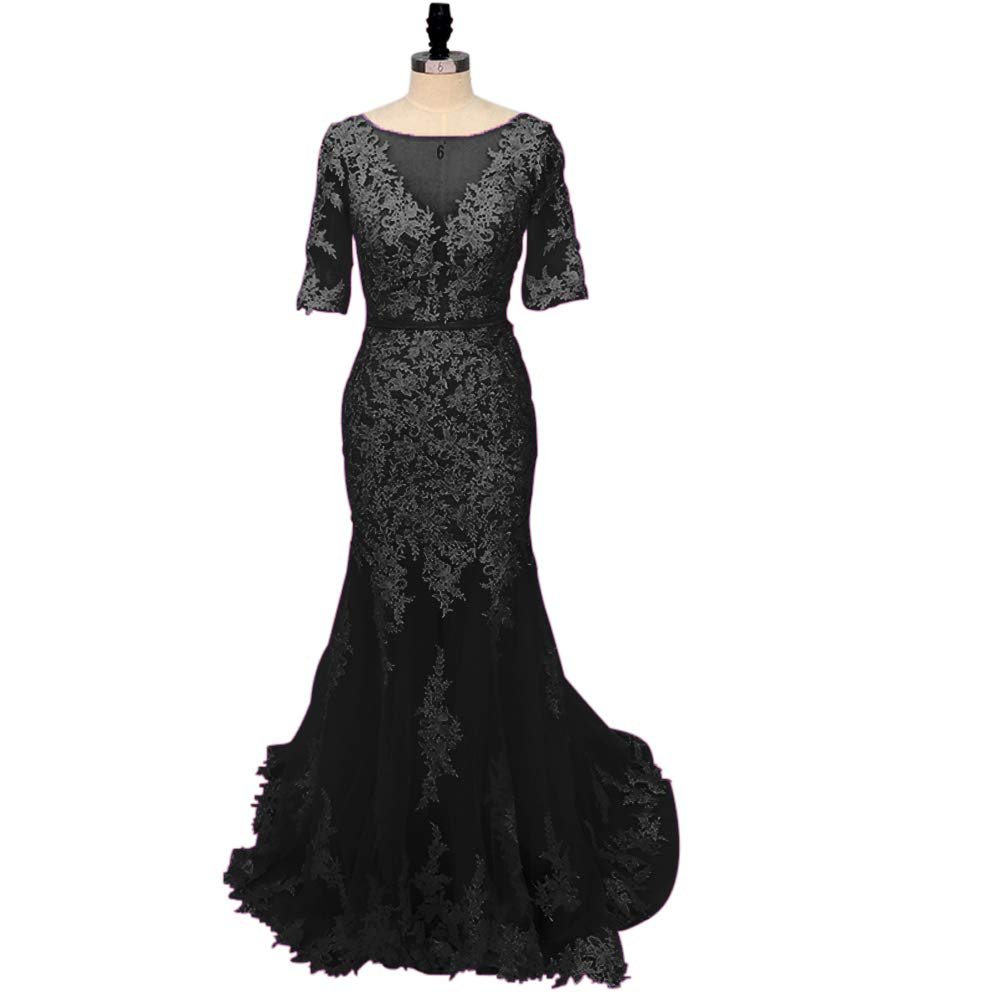 Black yuanbaokj Women's Mermaid Party Dress Backless Half Sleeves lace Appliques Evening Homecoming Gowns