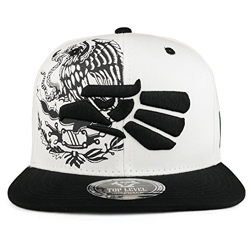 2fdcc51e782 Trendy Apparel Shop Hecho En Mexico Eagle 3D Embroidered Flat Bill Snapback  Cap - White Black