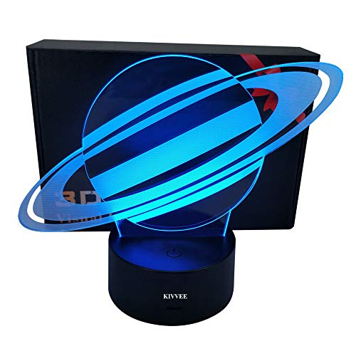 Saturn Planet Toys Visual 3D Night Light 2D Table Lamp Colorful 7 Color Touch W/USB Cable Birthday Christmas Gift for Boys Girls Kids Gift Adult Acrylic Desk Decorative Household Accessories
